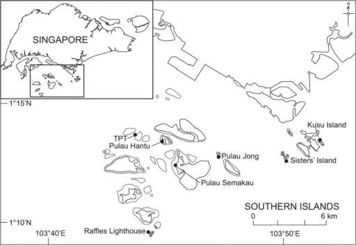 Map of Singapore showing location of the Southern Islands and Kusu Island